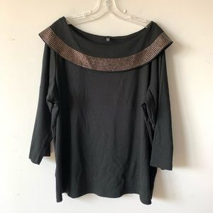 Rafaella Black Boat Neck Studded 3/4 Sleeve Blouse